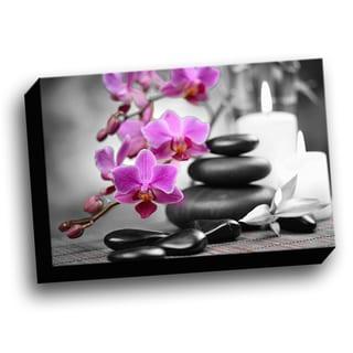 Orchids Color Splash Printed Framed Canvas