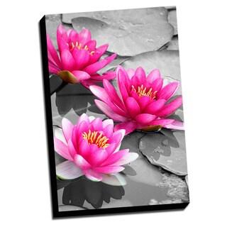 Lotus Color Splash Printed Framed Canvas