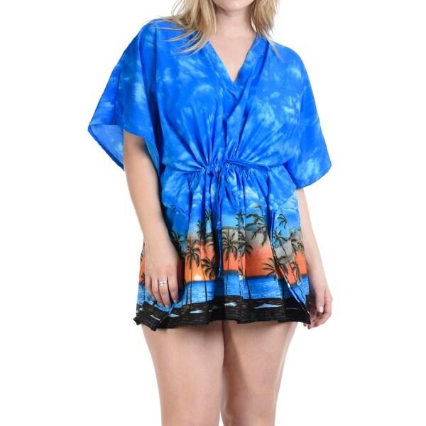 4109a507948 La Leela Beach Bikini Cover up SMOOTH Likre Kaftan Dress Women Tunic Cap  Blue