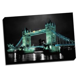 London Bridge Color Splash Printed Framed Canvas