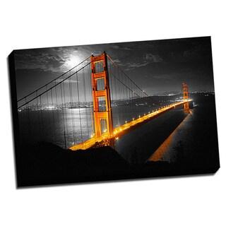 Golden Gate Bridge Color Splash Printed Framed Canvas