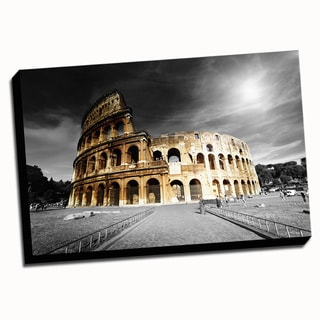 Rome Colosseum Color Splash Printed Framed Canvas