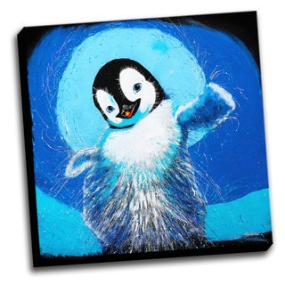 Happy Feet Penguin Colorful Art Printed Canvas Stretched Framed Ready To Hang