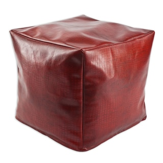 Tinga Rojo Red Faux-leather 12.5-inch Square KE Beads Footstool