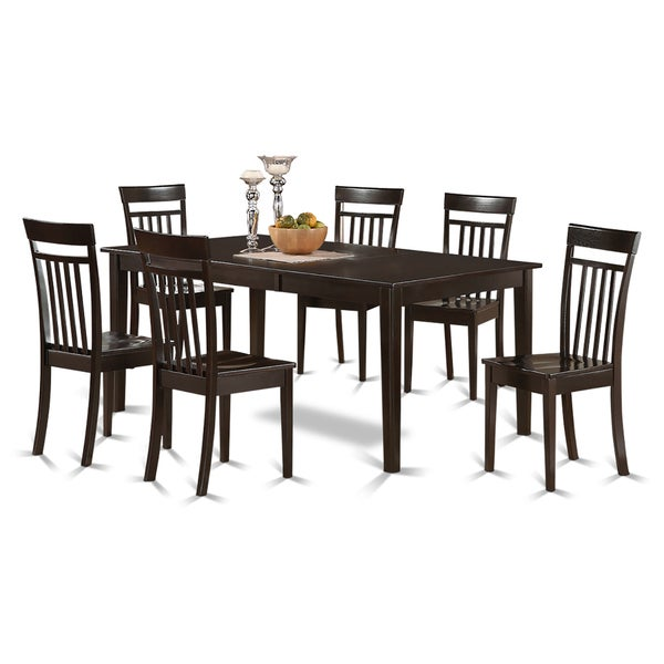 Shop Dining Room Sets: Shop HECA7-CAP Cappuccino Rubberwood 7-piece Formal Dining