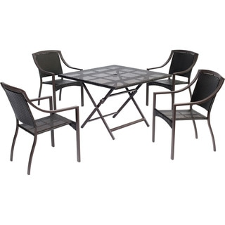 Hanover Outdoor Orleans 5-Piece Dining Set with 42 Inch Square Table