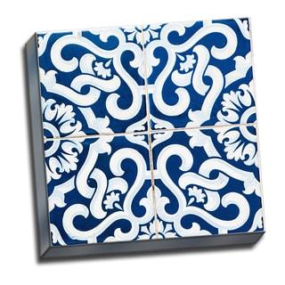 Patchwork Tiles Blue 3 Canvas Artwork
