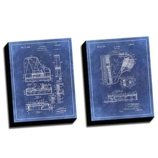 Piano Blue Patent Drawings Printed Canvases (set of 2)