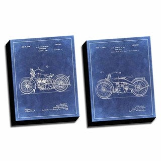 Harley Blue Patent Drawings Printed Canvases (set of 2)