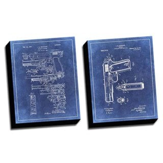 Gun Blue 2 Patent Drawings Printed Canvases (set of 2)