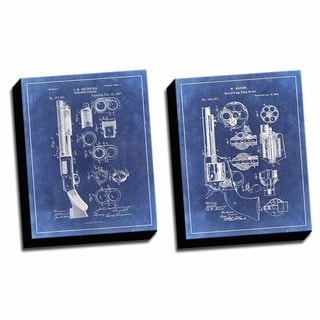 Gun Blue 1 Patent Drawings Printed Canvases (set of 2)