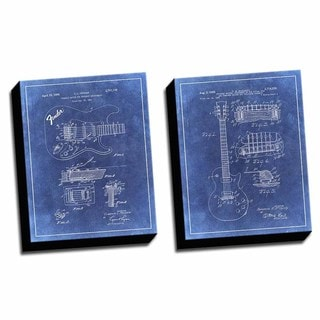 Guitar Blue Patent Drawings Printed Canvases (set of 2)
