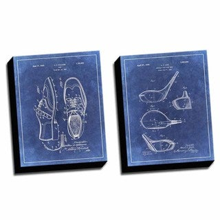 Golf Blue 1 Patent Drawings Printed Canvases (set of 2)