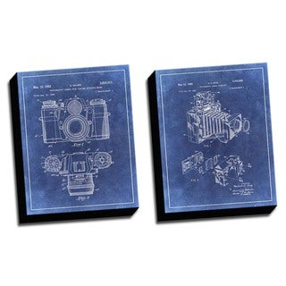 Camera Blue Patent Drawings Printed Canvases (set of 2)