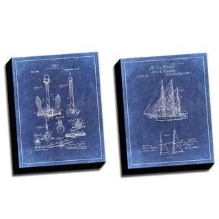 Boat Blue 2 Patent Drawings Printed Canvases (set of 2)