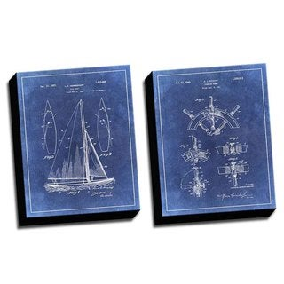 Boat Blue 1 Patent Drawings Printed Canvases (set of 2)