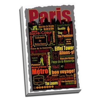 Paris Metro Montage Neighborhoods and Landmarks Printed Canvas