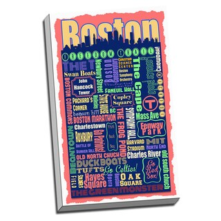 Boston Metro Montage Neighborhoods and Landmarks Printed Canvas