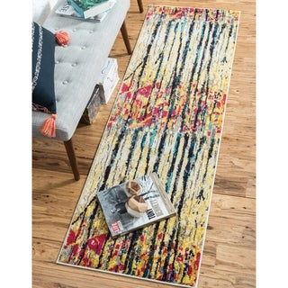 Barcelona Multi-colored Abstract Polypropylene Runner Rug (2'7 x 10')