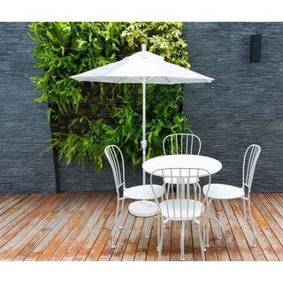 California Umbrella 9' Rd. Aluminum Market Umbrella, Crank Lift with Push Button Tilt, White Finish, Sunbrella Fabric