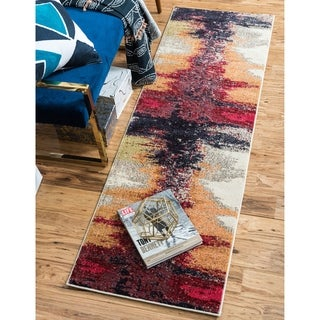 Barcelona Orange/Burgundy Runner Rug (2'7 x 10')