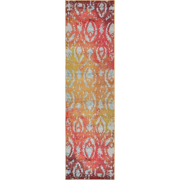 Barcelona Rust and Burgundy Polyproplene Runner Rug (2'7 x 10')