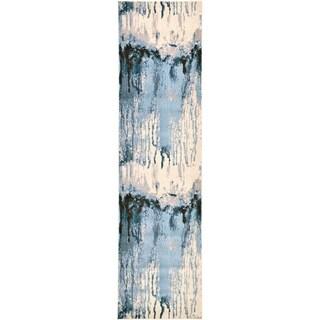 Unique Loom Barcelona Blue/Off-white Polypropylene Runner Rug (2'7 x 10')