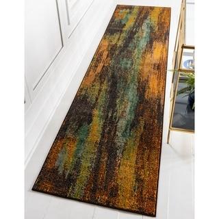 Unique Loom Barcelona Multi/Green Runner Rug ( 2'7 x 10')