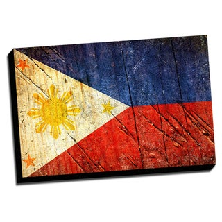 Philippines Distressed Flag Stretched Canvas Wall Art