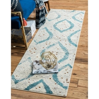 Barcelona Off-white/Ivory Polypropylene Runner Rug ( 2'7 x 10')