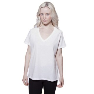 AtoZ Loose Short Sleeve V-neck Cotton Tee