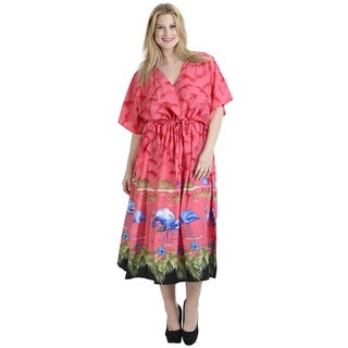 La Leela Gentle Likre Dress Nightgown Kaftan Beach Poncho Women Coverup Pink