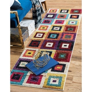 Barcelona Multi-colored Polypropylene Runner Rug ( 10' x 2'7)
