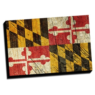 Maryland State Flag Distressed State Flag Stretched Canvas Wall Art