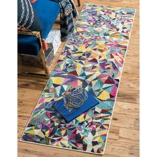 Unique Loom Barcelona Multicolored Abstract Polypropylene Runner Rug (2'7 x 10')