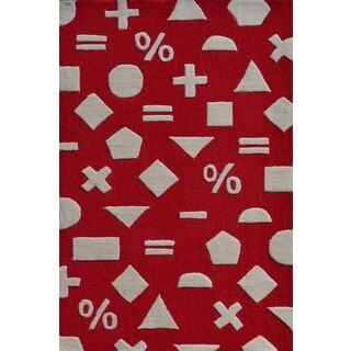 Math-themed Red Hand-tufted Polyester Area Rug (2'8 x 4'8)