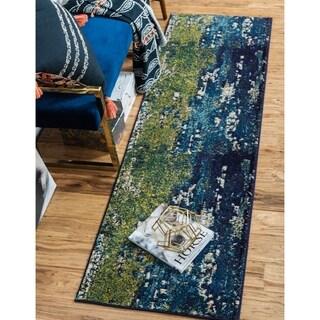 Unique Loom Barcelona Blue/Beige Polypropylene Runner Rug (2'7 x 10')