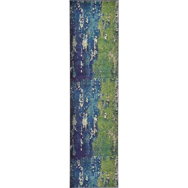 Barcelona Blue/Beige Polypropylene Runner Rug (2'7 x 10')