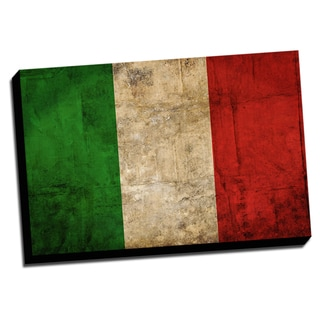 Italy Distressed Flag Stretched Canvas Wall Art