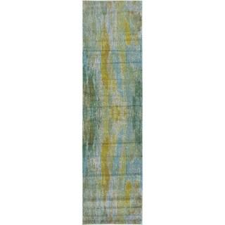 Barcelona Green/Grey/Ivory/Yellow Polypropylene Runner Rug (2'7 x 10')