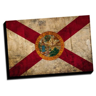 Florida Distressed State Flag Stretched Canvas Wall Art
