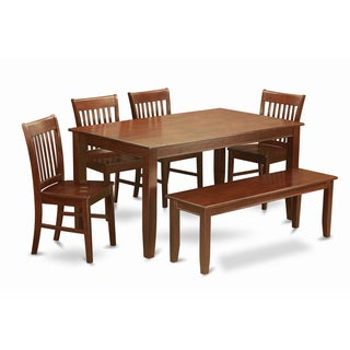 DUNO6D-MAH-C Mahogany Finish 4-chair and Bench 6-piece Kitchen Table Dining Set