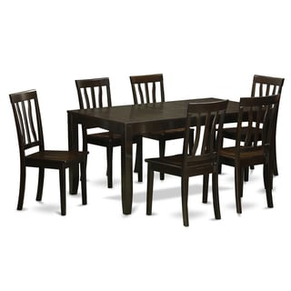 lyan7 cap black rubberwood 7 piece dining room set with leaf