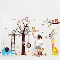 HomeSource Tree With Ladder and Forest Friends Removable Wall Graphic