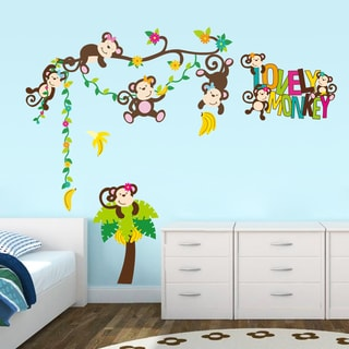 HomeSource Colorful Monkey See Monkey Do Removable Wall Graphics