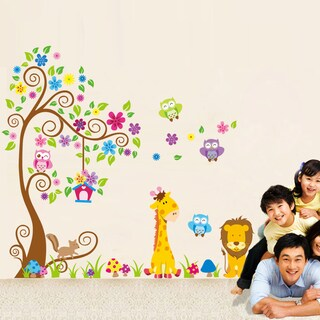 Swirl Tree of Safari and Friends' 12-inch x 36-inch Removable Wall Art Decal