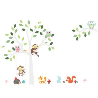 HomeSource White Tree With Its Friends Multicolor 12-inch x 36-inch Removable Wall Graphic