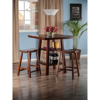 Winsome Orlando 3-piece High Table Set with 2 Saddle Seat Stools