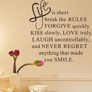 HomeSource Life is Short Break the Rules Removable Wall Graphic