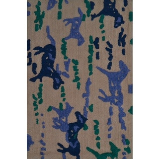 Gelding Beige/Black/Blue/Green Polyester Hand Hooked Area Rug (2'8 x 4'8)